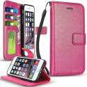 Apple iPhone 6 Plus Hot Pink ProWorx Wallet Case Luxury PU Leather Case Cover With Card Slots & Stand Angle 1