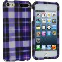 Apple iPod Touch 5th 6th Generation Purple Checker Hard Rubberized Design Case Cover Angle 1
