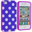Apple iPhone 4 / 4S Purple Pink / White TPU Polka Dot Skin Case Cover Angle 1