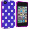 Apple iPhone 4 / 4S Purple Pink / White TPU Polka Dot Skin Case Cover Angle 2