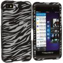 BlackBerry Z10 Black / White Zebra Hard Rubberized Design Case Cover Angle 1