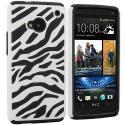 HTC One M7 Black / White Hybrid Zebra Hard/Soft Case Cover Angle 1