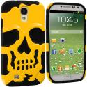 Samsung Galaxy S4 Black / Gold Hybrid Skull Hard/Soft Case Cover Angle 1