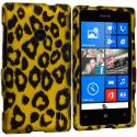 Nokia Lumia 520 Black Leopard on Golden 2D Hard Rubberized Design Case Cover Angle 1
