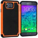 Samsung Galaxy Alpha G850 Black / Orange Hybrid Rugged Grip Shockproof Case Cover Angle 1