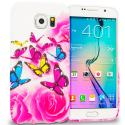 Samsung Galaxy S6 Pink Colorful Butterfly TPU Design Soft Rubber Case Cover Angle 1