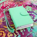ZTE Warp 4G N9510 - Mint / White MPERO FLEX FLIP Wallet Case Cover Angle 2