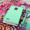 ZTE Warp 4G N9510 - Mint / White MPERO FLEX FLIP Wallet Case Cover Angle 3