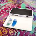 ZTE Warp 4G N9510 - Mint / White MPERO FLEX FLIP Wallet Case Cover Angle 5