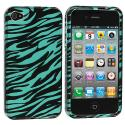 Apple iPhone 4 / 4S Black Baby Blue Zebra Design Crystal Hard Case Cover Angle 1