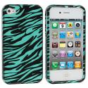 Apple iPhone 4 / 4S Black Baby Blue Zebra Design Crystal Hard Case Cover Angle 2