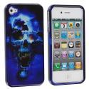Apple iPhone 4 / 4S Blue Skulls Design Crystal Hard Case Cover Angle 2
