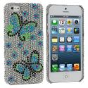 Apple iPhone 5/5S/SE Blue Green Butterfly Bling Rhinestone Case Cover Angle 1