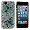 Apple iPhone 5/5S/SE Blue Green Butterfly Bling Rhinestone Case Cover Angle 2