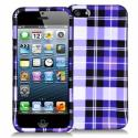 Apple iPhone 5/5S/SE Purple Checkered Hard Rubberized Design Case Cover Angle 1