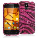 ZTE Force N9100 Black / Hot Pink Zebra Bling Rhinestone Case Cover Angle 1