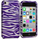 Apple iPhone 5C Purple / White Zebra Hard Rubberized Design Case Cover Angle 1