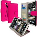HTC One Max Hot Pink Leather Wallet Pouch Case Cover with Slots Angle 1
