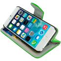 Apple iPhone 6 6S (4.7) Neon Green Leather Wallet Pouch Case Cover with Slots Angle 6