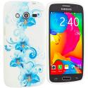 Samsung Galaxy Avant G386 Blue White FLower TPU Design Soft Rubber Case Cover Angle 1