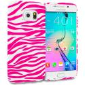 Samsung Galaxy S6 Edge Pink / White Zebra TPU Design Soft Rubber Case Cover Angle 1