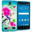 ZTE Zmax 2 Blue Bird Pink Flower TPU Design Soft Rubber Case Cover Angle 1