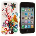Apple iPhone 4 / 4S Autumn Flower Hard Rubberized Back Cover Case Angle 2