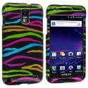 Samsung Skyrocket i727 Rainbow Zebra on Black Design Crystal Hard Case Cover Angle 1