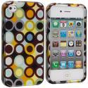 Apple iPhone 4 / 4S Rainbow Polka Dot Design Crystal Hard Case Cover Angle 1