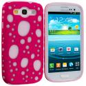 Samsung Galaxy S3 Pink Hybrid Bubble Hard/Soft Skin Case Cover Angle 1