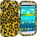 Samsung Galaxy S3 Black Leopard on Golden 2D Hard Rubberized Design Case Cover Angle 1