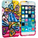 Apple iPhone 6 Plus 6S Plus (5.5) Rainbow Butterfly TPU Design Soft Rubber Case Cover Angle 1