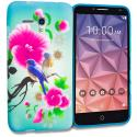 Alcatel OneTouch Fierce XL Blue Bird Pink Flower TPU Design Soft Rubber Case Cover Angle 1