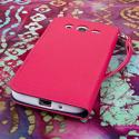 Samsung Galaxy Mega 5.8 - Hot Pink MPERO FLEX FLIP Wallet Case Cover Angle 3