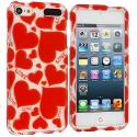 Apple iPod Touch 5th 6th Generation Hearts w Different Shapes Hard Rubberized Design Case Cover Angle 1