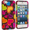 Apple iPhone 5/5S/SE Rainbow Hearts Black Hard Rubberized Design Case Cover Angle 1