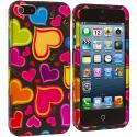Apple iPhone 5/5S/SE Rainbow Hearts Black Hard Rubberized Design Case Cover Angle 2