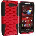Motorola Droid Razr M XT907 Black / Red Hybrid Mesh Hard/Soft Case Cover Angle 1