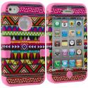 Apple iPhone 4 / 4S Pink Tribal Hybrid Tuff Hard/Soft 3-Piece Case Cover Angle 1