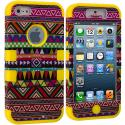 Apple iPhone 5/5S/SE Yellow Tribal Hybrid Tuff Hard/Soft 3-Piece Case Cover Angle 1