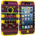 Apple iPhone 5/5S/SE Yellow Tribal Hybrid Tuff Hard/Soft 3-Piece Case Cover Angle 2