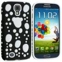 Samsung Galaxy S4 Black / White Hybrid Bubble Hard/Soft Skin Case Cover Angle 2