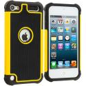 Apple iPod Touch 5th 6th Generation Black / Yellow Hybrid Rugged Hard/Soft Case Cover Angle 1