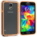 Samsung Galaxy S5 Orange / Clear TPU Bumper Frame Case Cover Angle 3