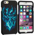Apple iPhone 6 6S (4.7) Blue Skull Face 2D Hard Rubberized Design Case Cover Angle 1