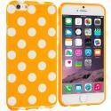 Apple iPhone 6 Plus 6S Plus (5.5) Orange / White TPU Polka Dot Skin Case Cover Angle 1