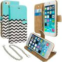 Apple iPhone 5/5S/SE Mint Green Zebra Leather Wallet Pouch Case Cover with Slots Angle 1