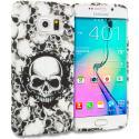 Samsung Galaxy S6 Edge Black White Skulls TPU Design Soft Rubber Case Cover Angle 1