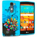 LG Volt 2 LS751 Blue Butterfly Flower TPU Design Soft Rubber Case Cover Angle 1