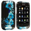Huawei Fusion U8652 Blue Flowers Design Crystal Hard Case Cover Angle 1